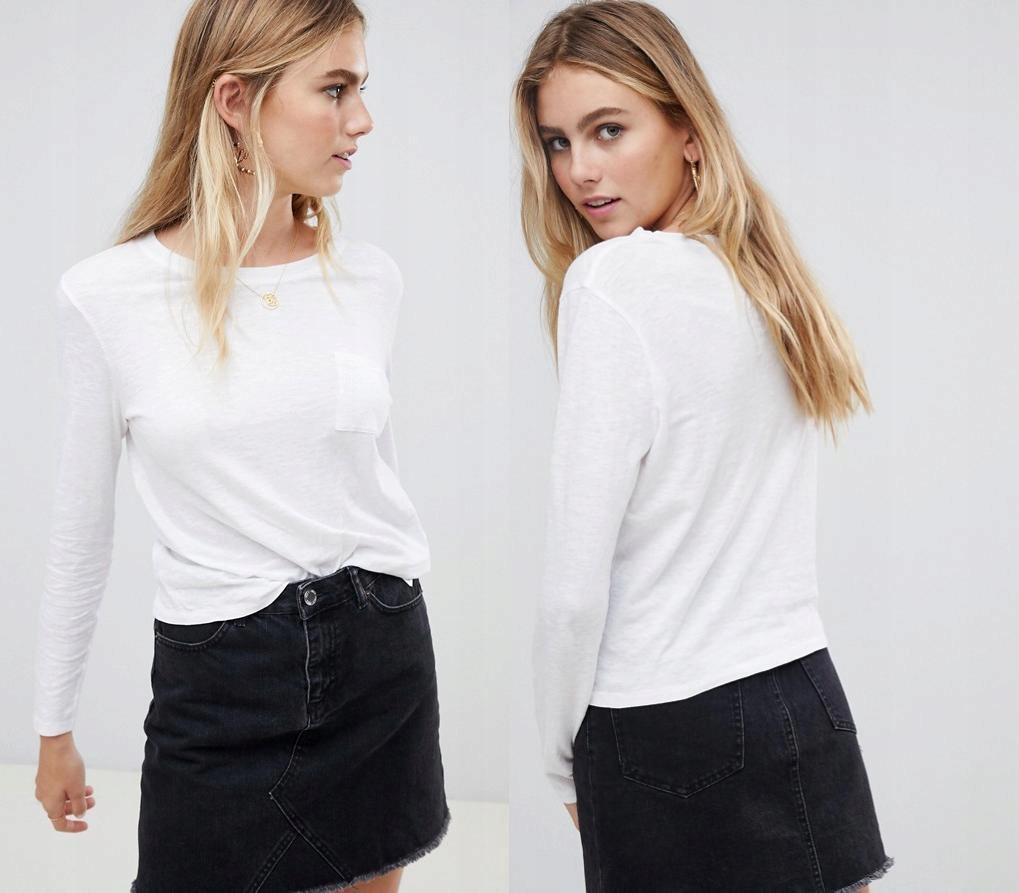 NEW LOOK Bawełniany biały t-shirt kieszonka (42)