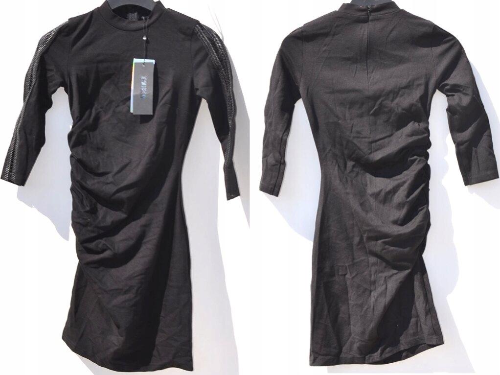 Klasyczna Czarna Mini Sukienka Marszczona XS/34