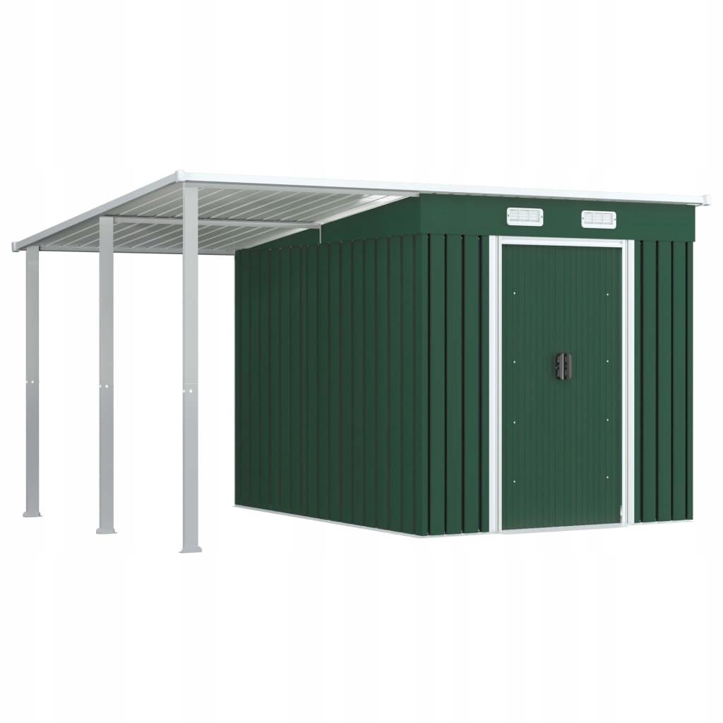 Szopa z przedłużonym dachem, zielona, 346x236x181
