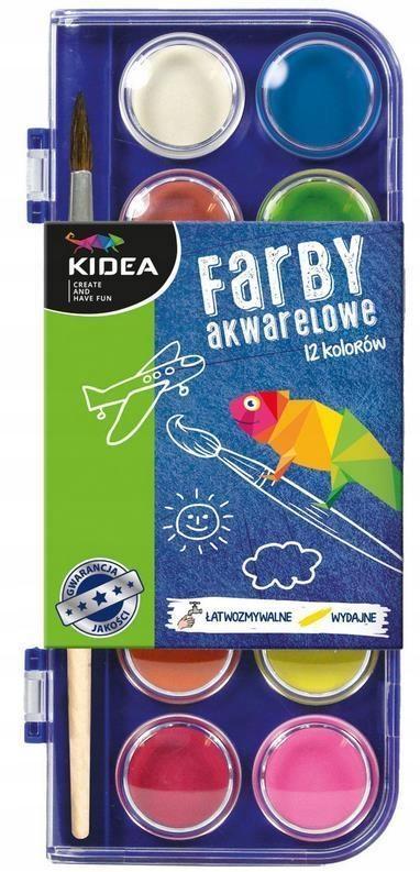 Farby akwarelowe 12 kolorów KIDEA