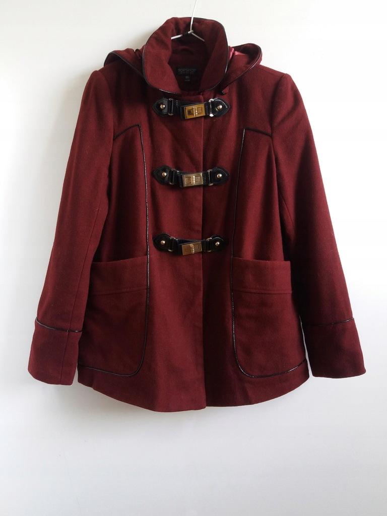 wełniany płaszcz krótki wiosenny bordo wełna budry