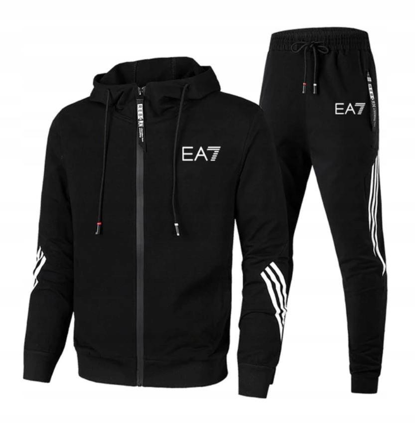 Męskie Sportowe Dresy Bluza na Zamek + Spodnie L
