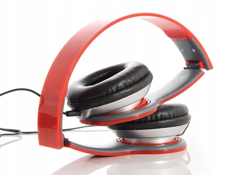Składane słuchawki na głowę kabel mikrofon nauszne