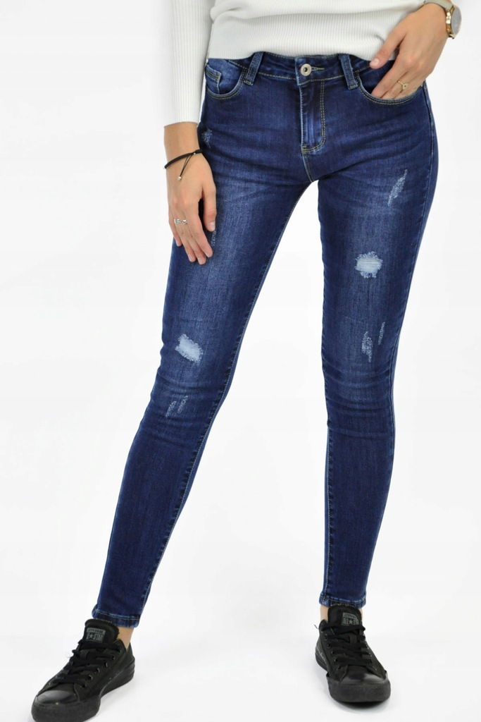 Niebieskie jeansy damskie Kiss Pink z dziurami XS