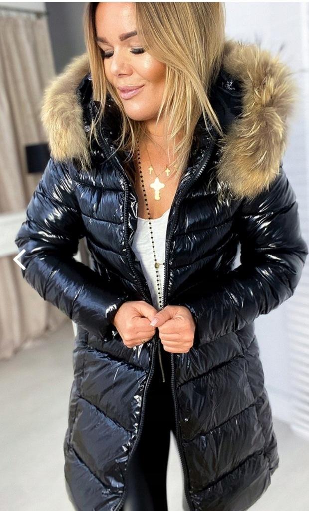kurtka damska z połyskiem zimowa ocieplana futerkiem