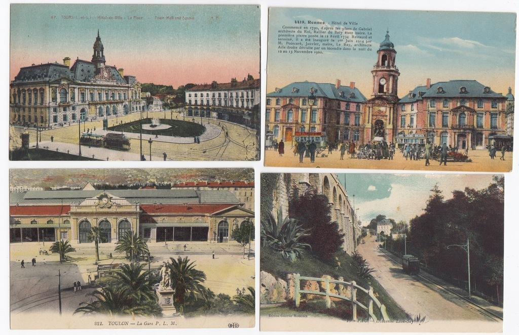 Stare pocztówki FRANCJA TRAMWAJ (4 szt.) 4T74