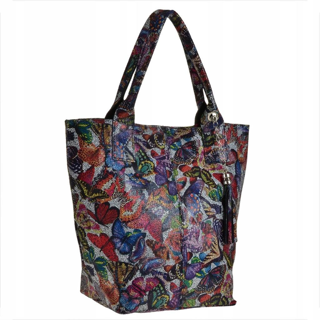 Skórzane torebki damskie shopper bag w kwiaty