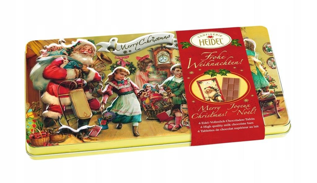 Pyszne czekoladki w pięknych świątecznych puszkach