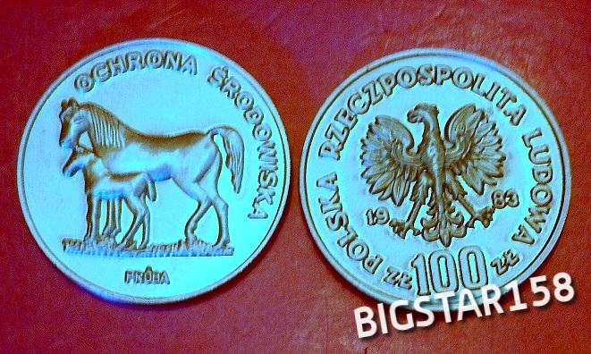 KONIE- 100 Zł.- 1983 OCHRONA ŚRODOWISKA- PRÓBA !