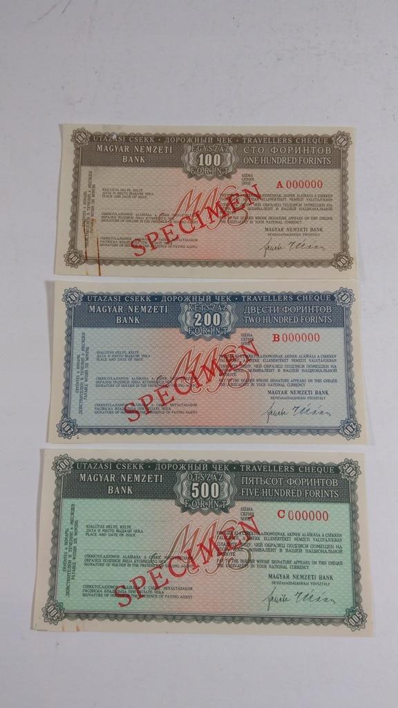 Czek podróżny, specimen, 100, 200, 500 Forint