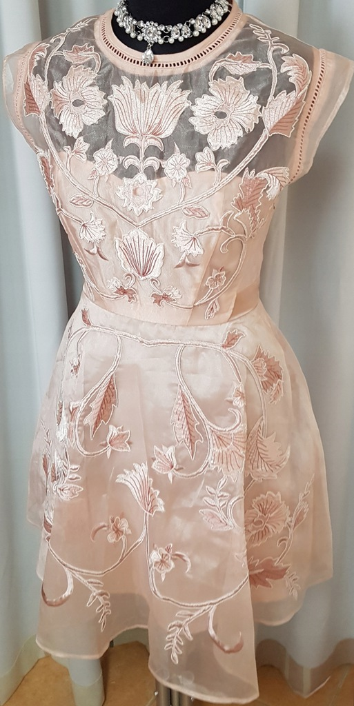 Sukienka ASOS 38 M kwiaty haft modna blog