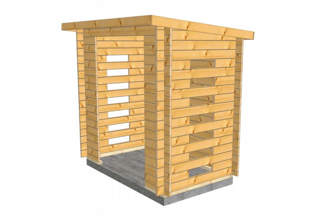Drewniana drewutnia na opał Drewno 1,4x2,2m wys206