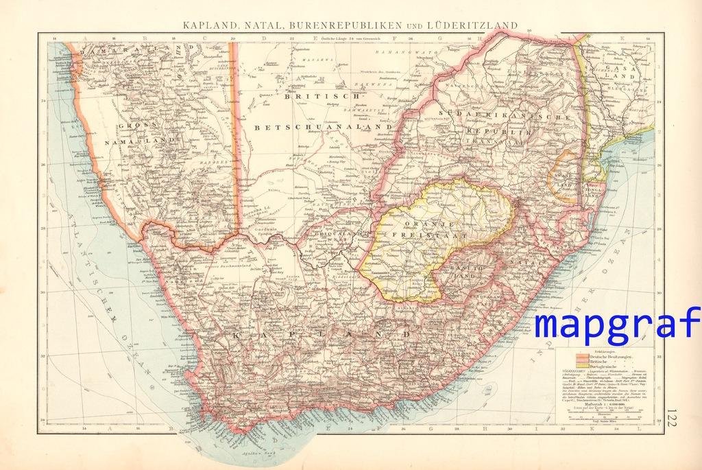 AFRYKA POŁUDNIOWA, KRAJ BURÓW mapa z 1896 roku