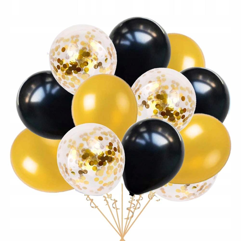 Ohighing 50szt Black Gold Złoto Balony Balony hel