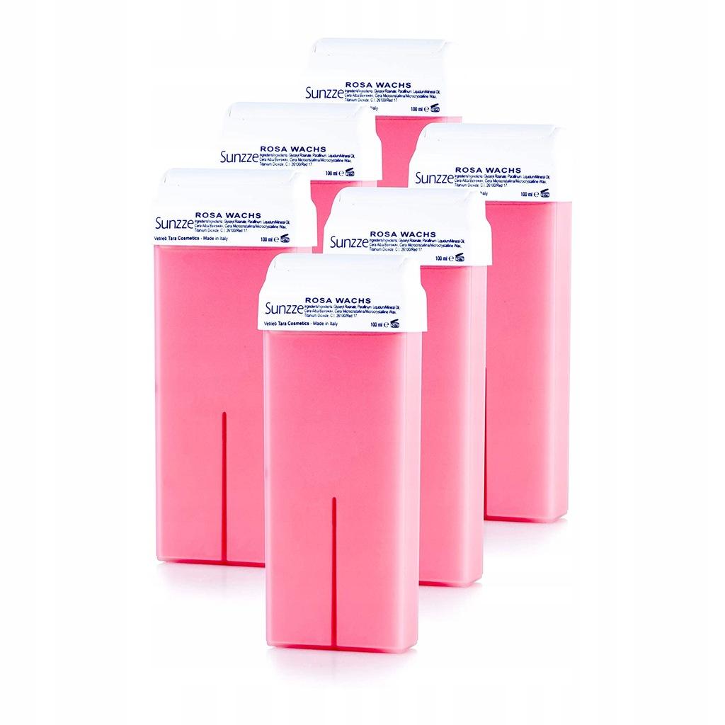 Naboje z gorącym woskiem różowe 6 sztuk na 100ml