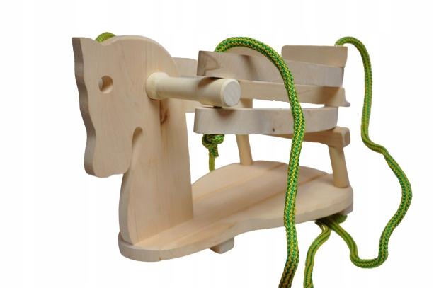 drewniana Huśtawka dla dzieci wisząca koń MALIMAS