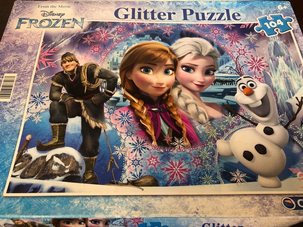 Puzzle 104 GLITTER FROZEN DISNEY kompletne