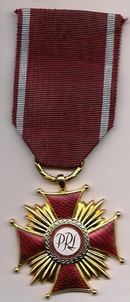 Złoty Krzyż Zasługi z lat 70/80tych uszk. emalia