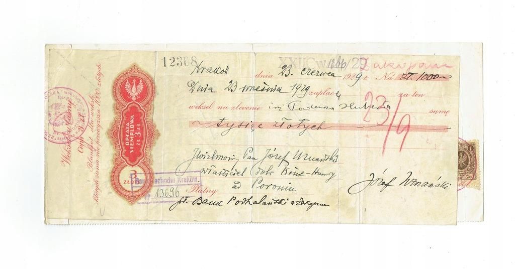 Weksel 7 Bank Zachodni Kraków 1929 - protest