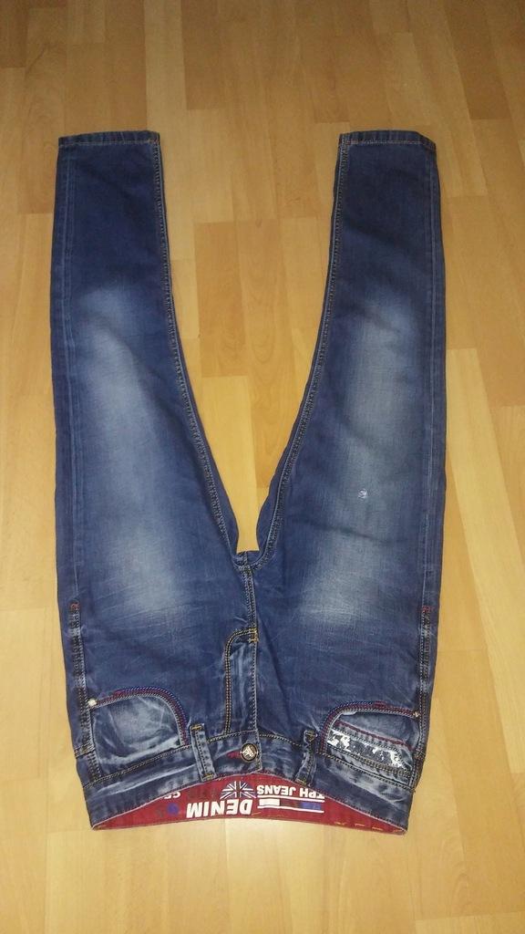 Jeansowe SPODNIE / proste nogawki S damskie