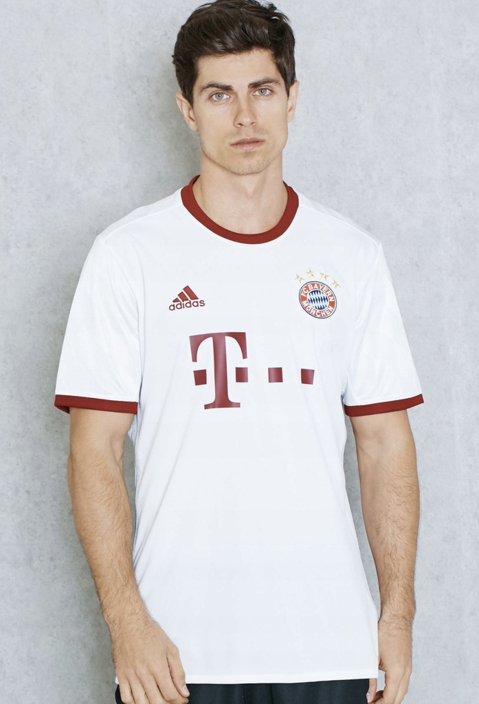 Adidas BAYERN t-shirt sportowy logo biały L