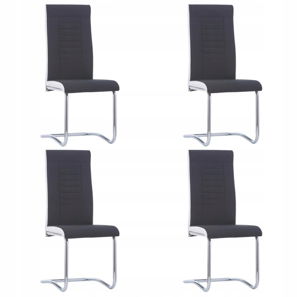 Krzesła stołowe, 4 szt., czarne, tapicerowane tkan