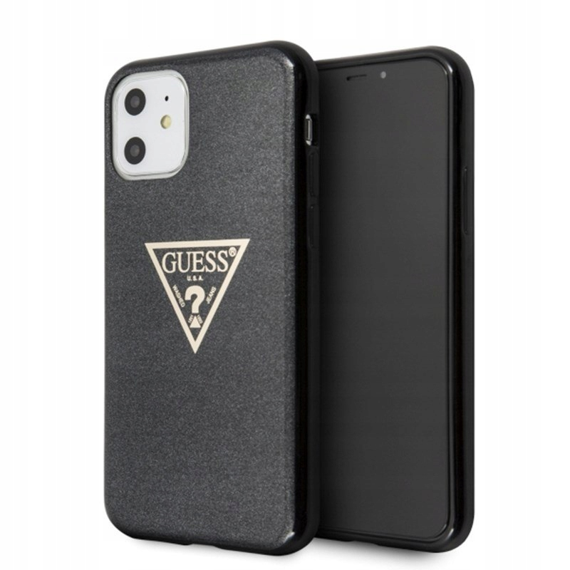 GUESS SOLID GLITTER TRIANGLE ETUI IPHONE 11 BLACK