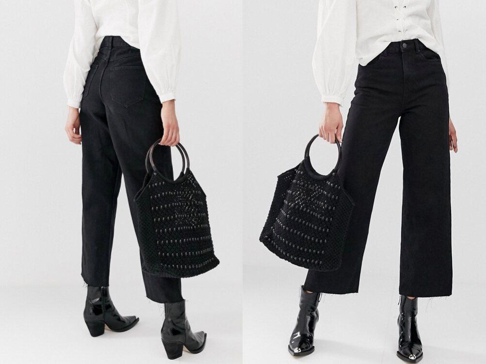 Vero Moda czarne jeansowe spodnie kuloty W32 L36