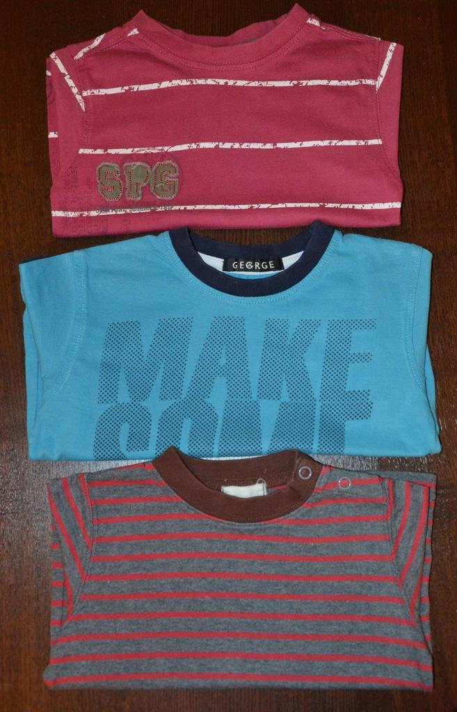 Bluzki z krótkim rękawem x 3, roz.80-86