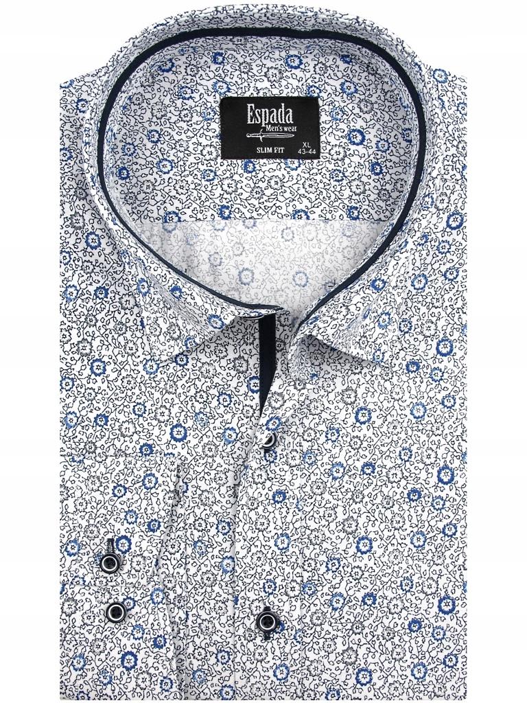 Koszula męska biała w kwiatki slim fit na długi rękaw a078