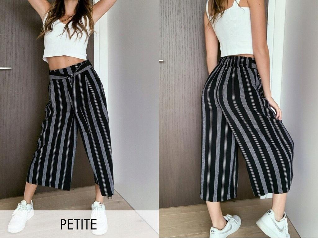 New Look Petite Czarne wiązane spodnie w paski XS
