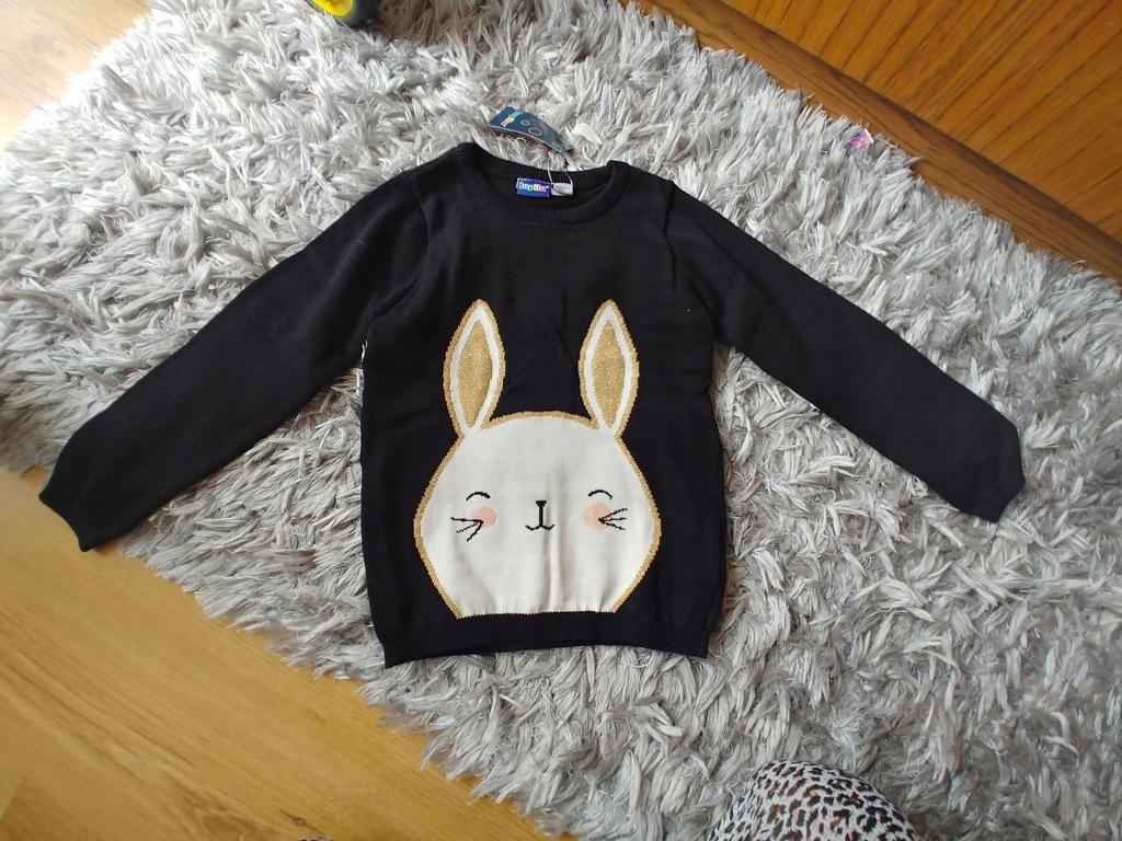 Lupilu sweterek czarny zajaczek 110-116cm nowy