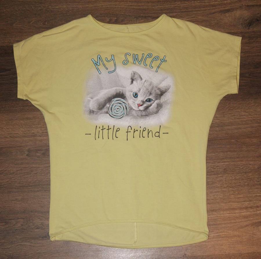 Koszulka z nadrukiem kotka r. 146 cm, 11 lat