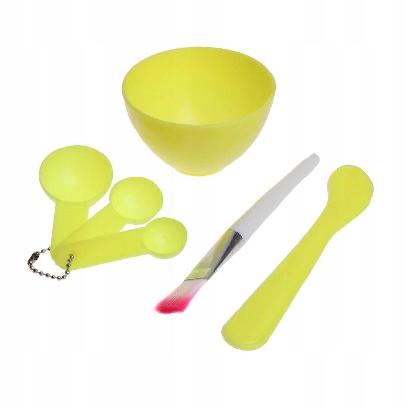 Zestaw: miska, miarki, pędzel do masek, alg żółty
