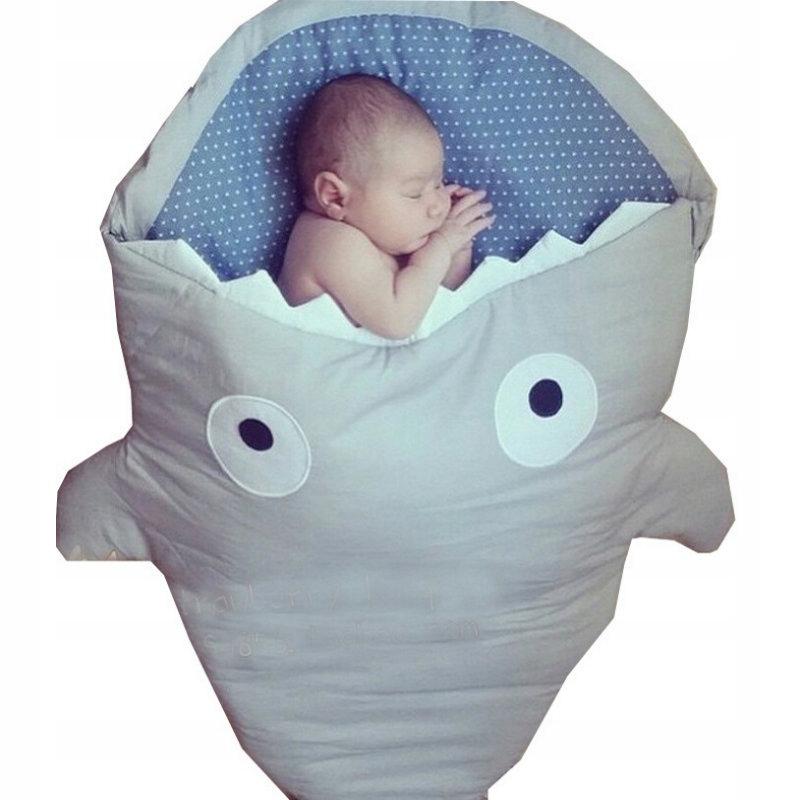 Śpiworek dziecięcy kocyk rekin BŁĘKITNY 80x50cm