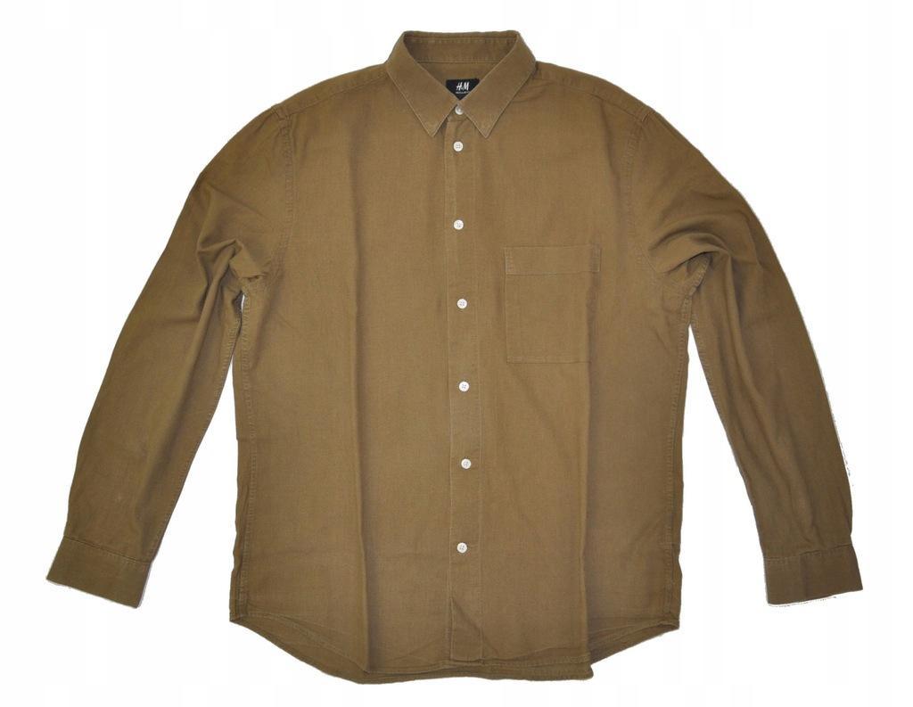 H&M koszula brązowa z lnem len L 42