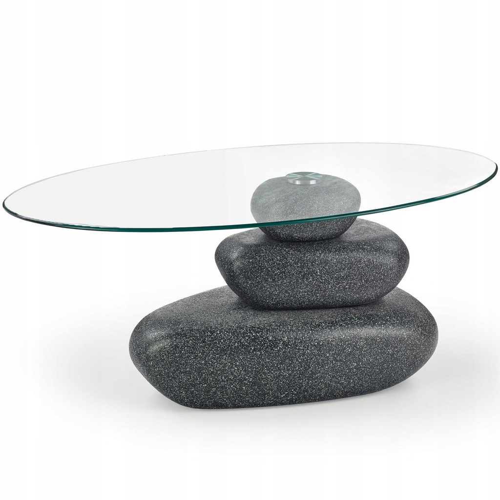 FLAVIA - kamienna ława antracyt szklana oryginalna