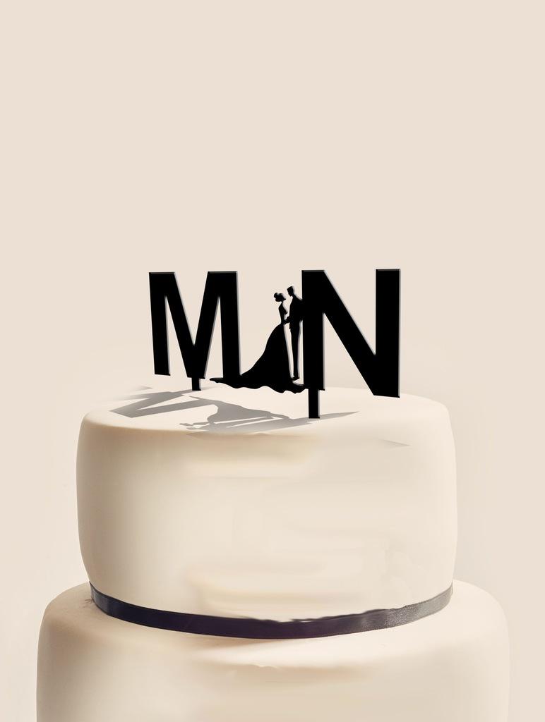 Figurka Topper toper na tort ślubny inicjały imię
