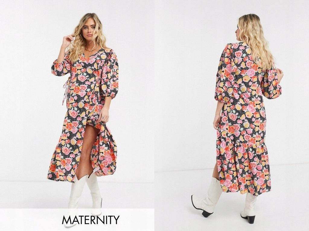 Topshop Maternity Sukienka midi w kwiatowy wzór XL