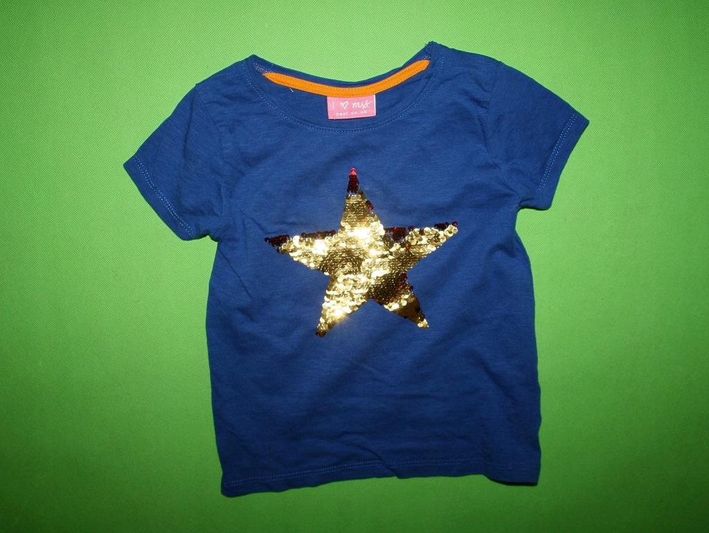 NEXT super t-shirt koszulka CEKINKI GWIAZDA 92-98