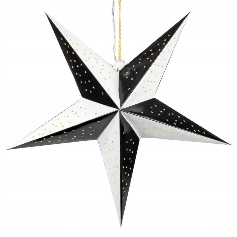 Dekoracja świąteczna - 10 diod LED, czarno-biała