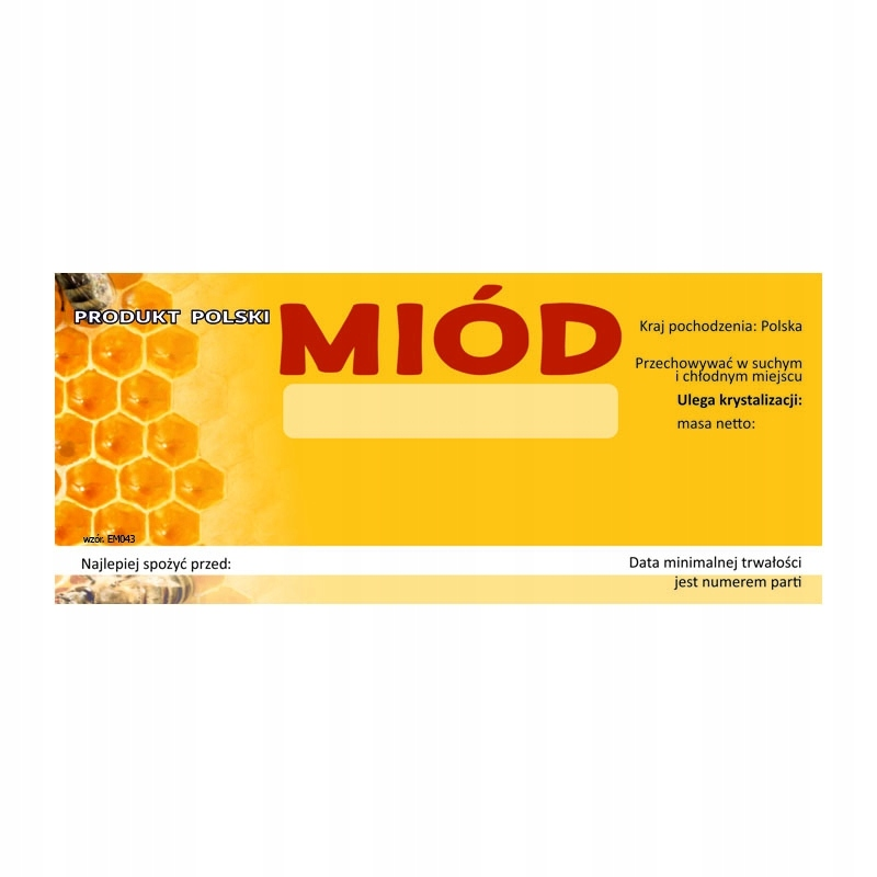 Etykieta na miód uniwersalna EM043 - małe