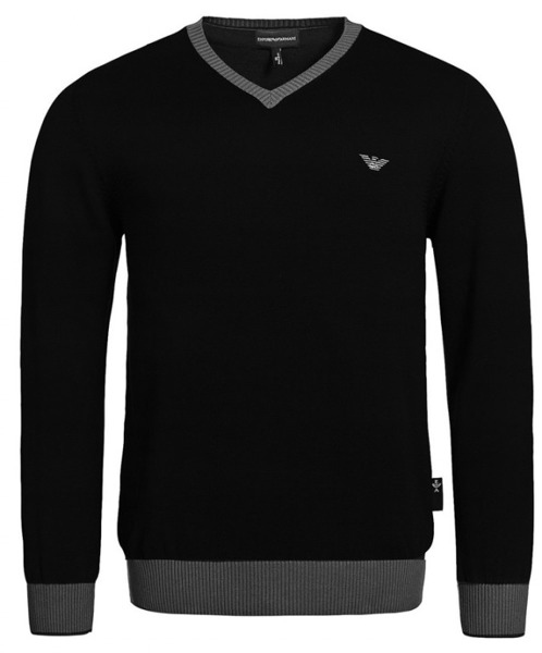 SWETER EMPORIO ARMANI V-neck Black 706