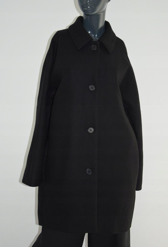 cos czarny płaszcz wełna kieszenie oversize 42/XL