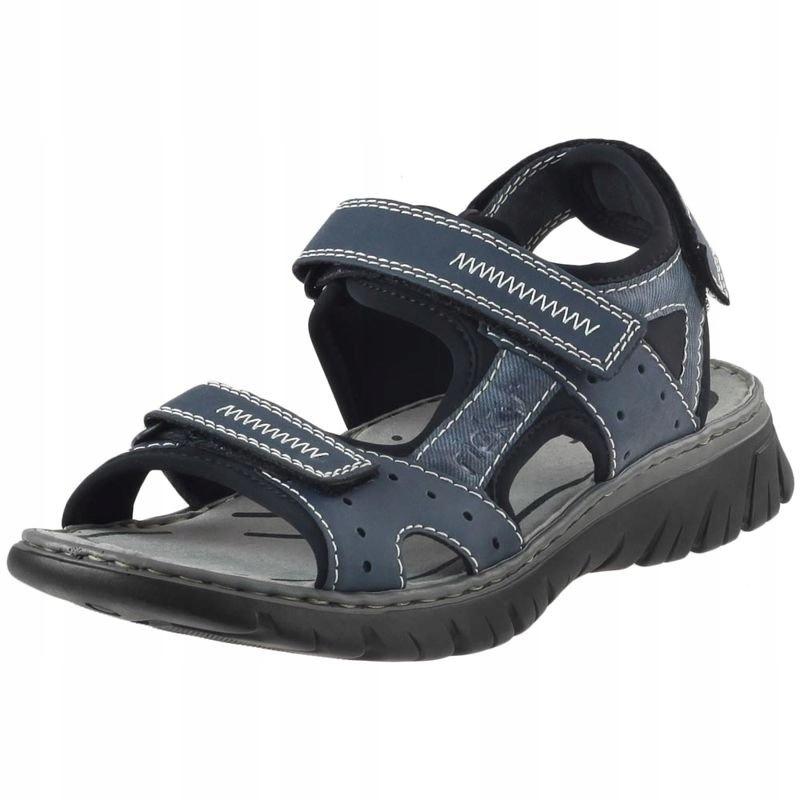 Granatowe Sandały Rieker Na rzep 26757 buty R.43