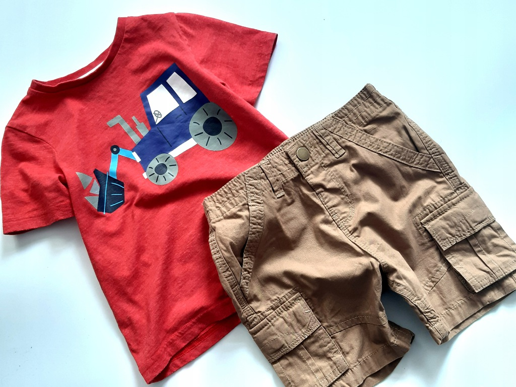 TU t-shirt dla budowniczego+ szorty 98