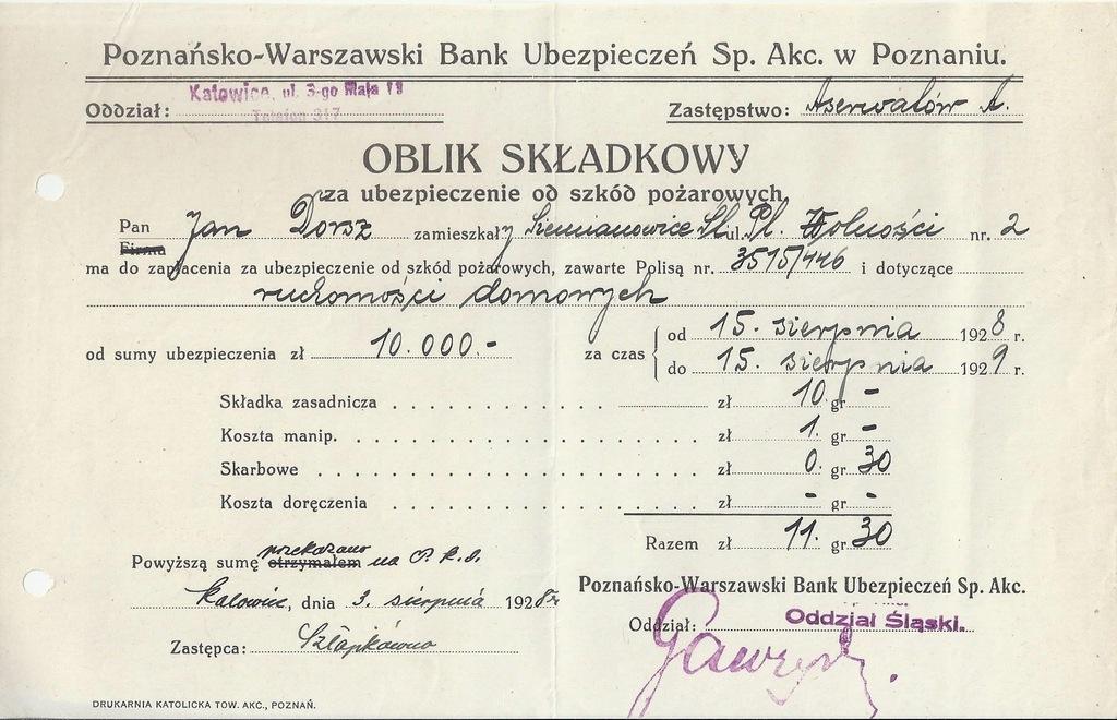 POZNAŃSKO WARSZAWSKI BANK UBEZPIECZEŃ OBLIK KIWT