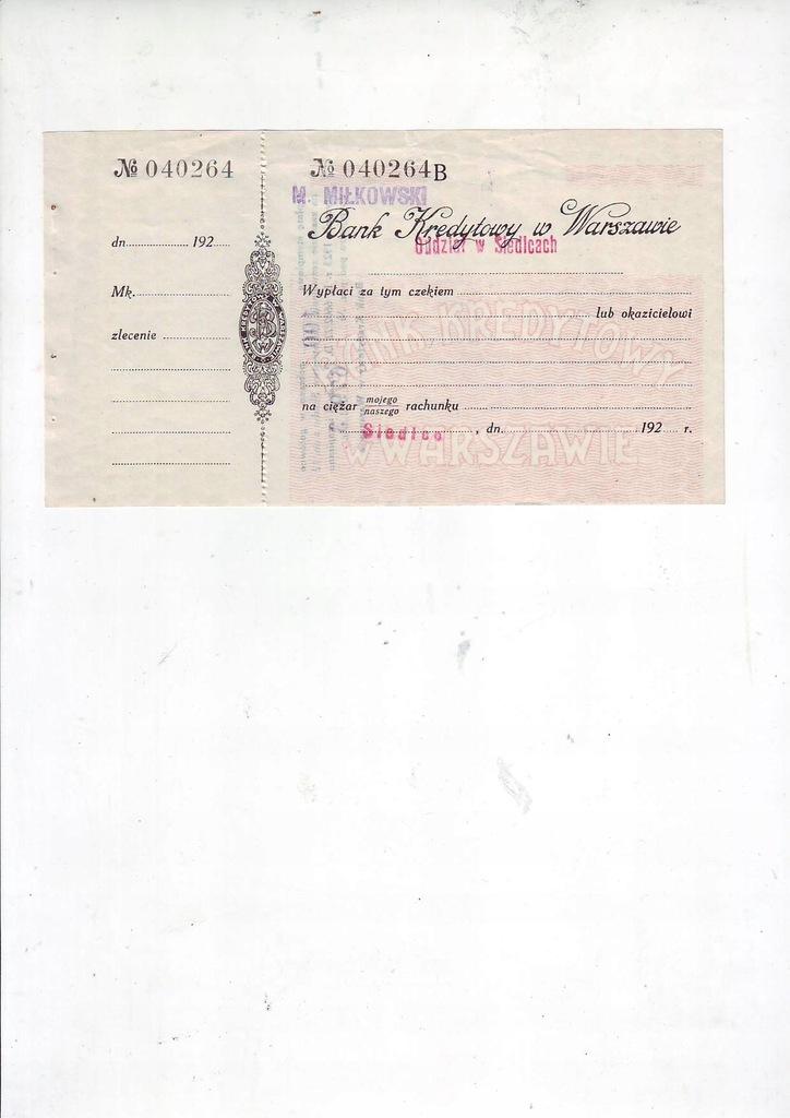 Bank Kredytowy czek przedwojenny