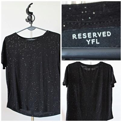 Czarny T - shirtz brokatem Reserved S/M