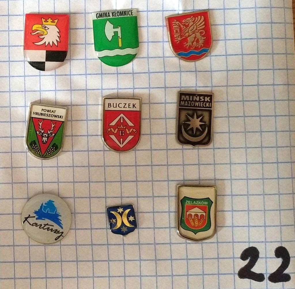 Zestaw odznak herb gmina powiat mix heraldyka 22
